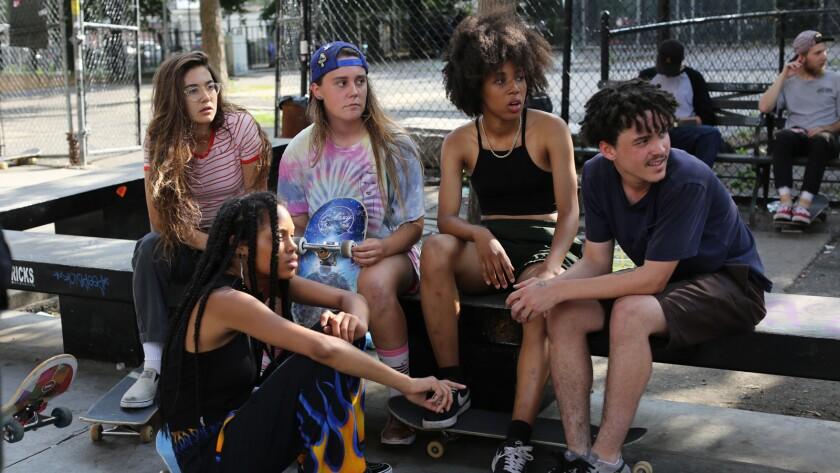 "Rachelle Vinberg, from left, Ajani Russell, Nina Moran, Dede Lovelace and Alexander Cooper in the movie ""Skate Kitchen."""