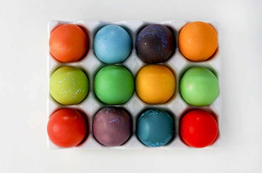 Easter eggs decorated with food coloring dyes.
