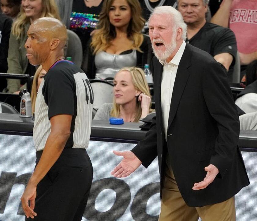 Imagen de archivo del entrenador de San Antonio Spurs, Gregg Popovich. EFE/Archivo