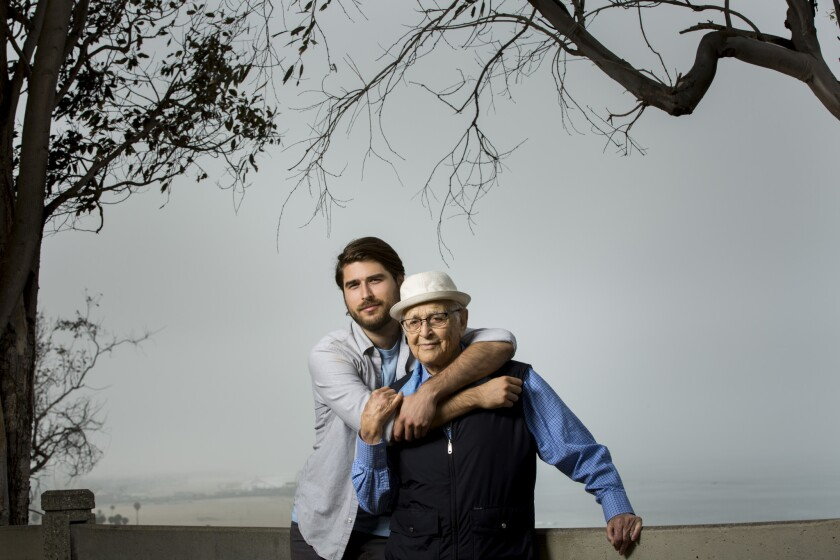 Legendary TV producer Norman Lear with his filmmaker son, Ben Lear, in Palisades Park.
