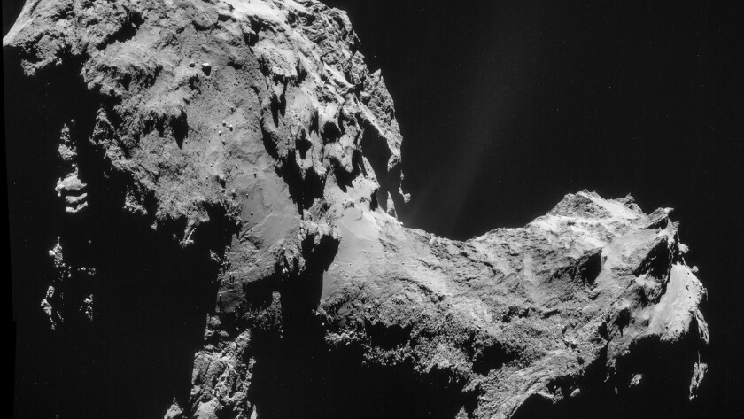 A close-up view of comet 67P/Churyumov-Gerasimenko, taken by Rosetta from just 17.8 miles away.