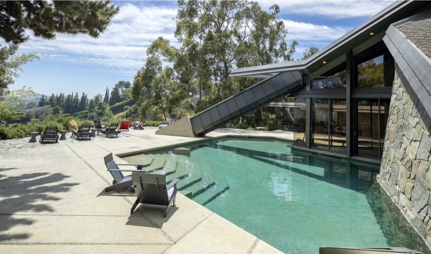 The backyard of the Bel-Air mansion built for Wilt Chamberlain.