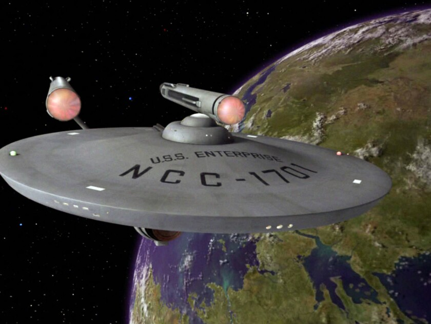"The Enterprise in the ""Star Trek"" episode ""Plato's Stepchildren"" in 1968."