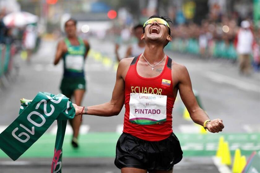 Ecuador's Brian Daniel Pintado crosses the finish line on Aug. 4, 2019, winning the gold medal in the 20-kilometer race walk at the 2019 Pan American Games in Lima, Peru. EPA-EFE/Paolo Aguilar