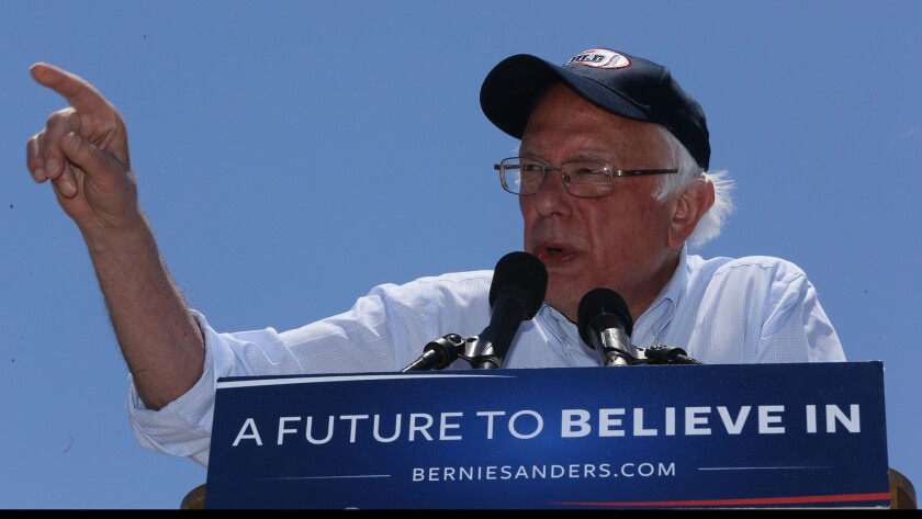 Democratic presidential candidate Sen. Bernie Sanders, I-Vt., speaks during a campaign rally in Cathedral City, Calif., onMay 25, 2016.