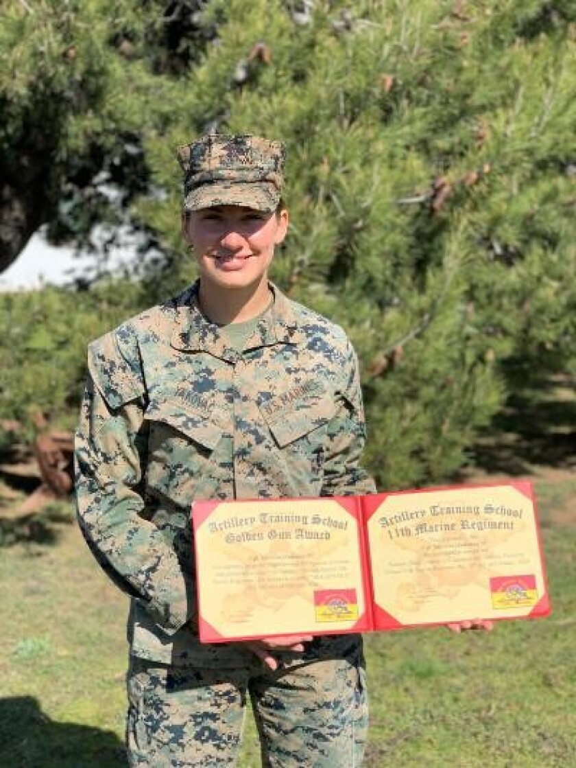 Cpl. Julianna Yakovac, an artillery combat Marine, is the first West Coast-based Marine woman to graduate Howitzer Section Chief course.