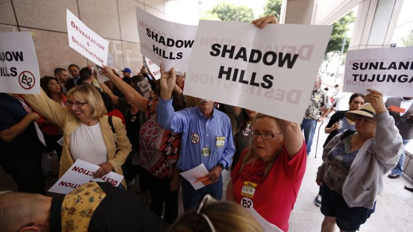 LOS ANGELES, CA JUNE 9, 2015 -- Opponents of the current route for high speed rail gather outside t