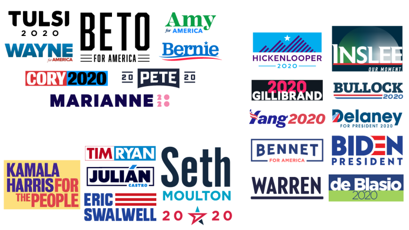 Candidates in the crowded 2020 Democratic presidential field pitch themselves with a friendly first name, a no-nonsense last name, or both names in their logos.