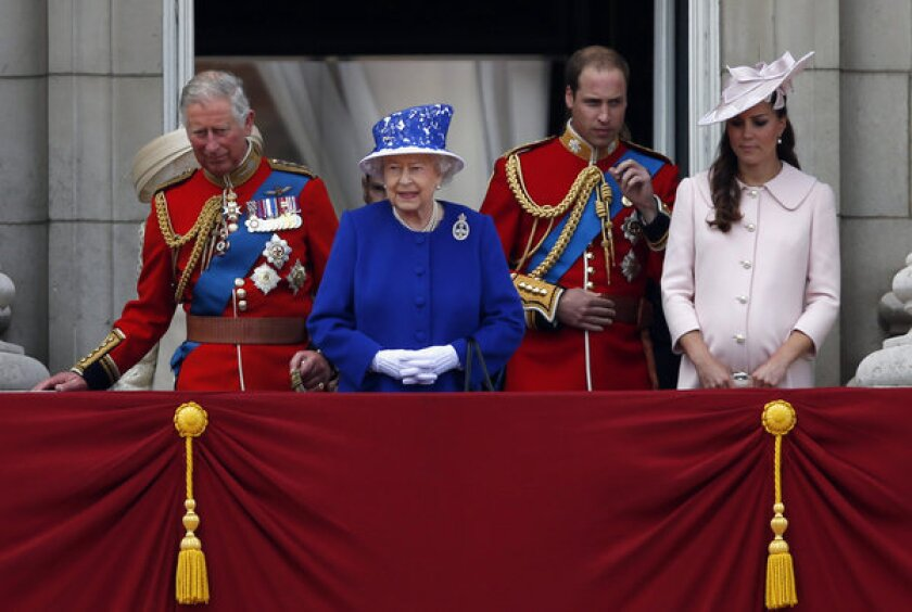 Prince Charles, left, stands with his mother Queen Elizabeth II, his son Prince William and his daughter-in-law Kate. William and Kate welcomed a baby boy on Monday, bumping nearly all of his relatives down the chain of succession.