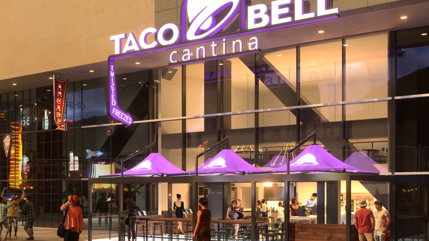 A rendering of the new Taco Bell Cantina, opening on the Las Vegas Strip this fall.