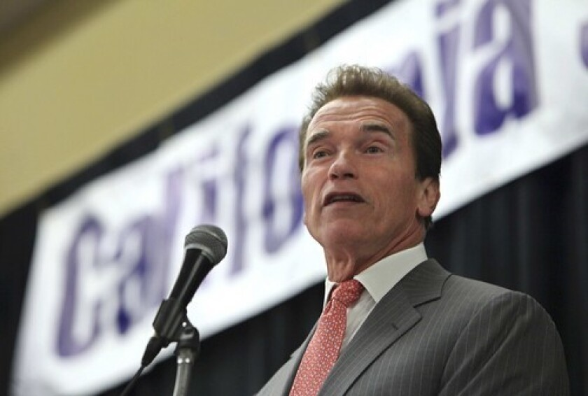 California Gov. Arnold Schwarzenegger tells small-business owners in Sacramento that the state must severely cut state spending.