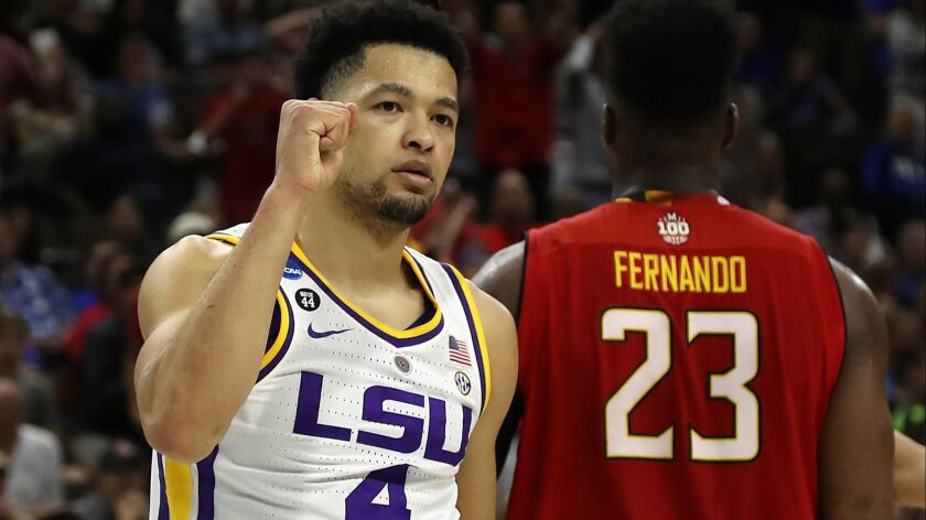 LSU guard Skylar Mays had a game-high 16 points in the 69-67 victory over Maryland on Saturday.