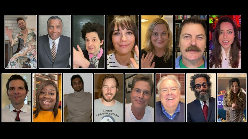 """A frame grab from April's """"Parks and Recreation Special,"""" an example of adaptations TV has made to the pandemic"""
