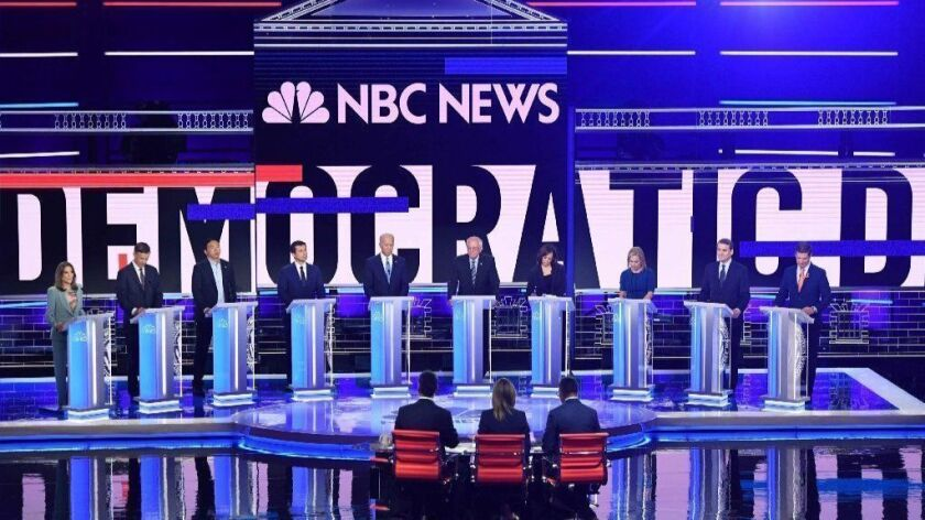 Democratic presidential hopefuls participate in the second round of the first primary debate of the 2020 campaign season at the Adrienne Arsht Center for the Performing Arts in Miami.