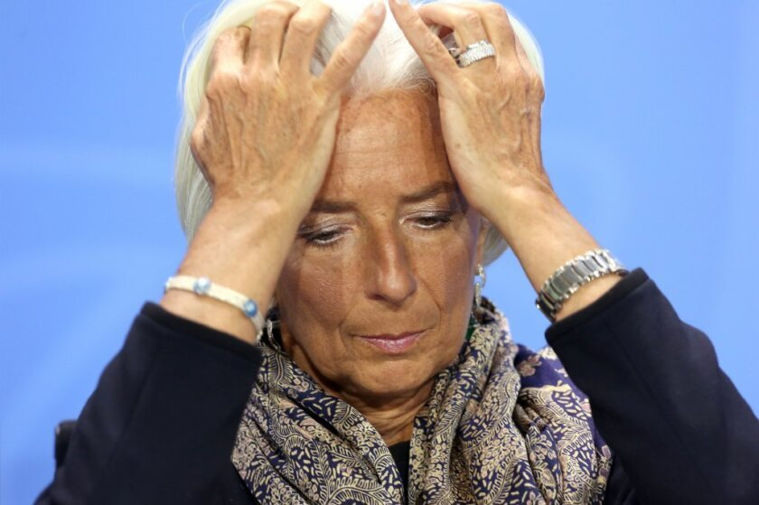 Managing Director of the International Monetary Fund (IMF) Christine Lagarde at a news conference in the German federal Chancellery. Lagarde was one of three notable speakers to back out of graduation speeches in the U.S. this year after activist backlash.