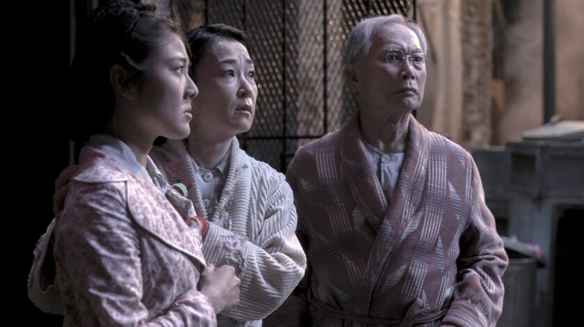 "Miki Ishikawa, left, Hira Ambrosino and George Takei in ""The Terror"" on AMC."