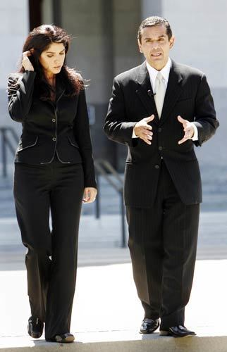 During the course of a television interview on June 19, 2006, Villaraigosa walks with Salinas outside the state Capitol.