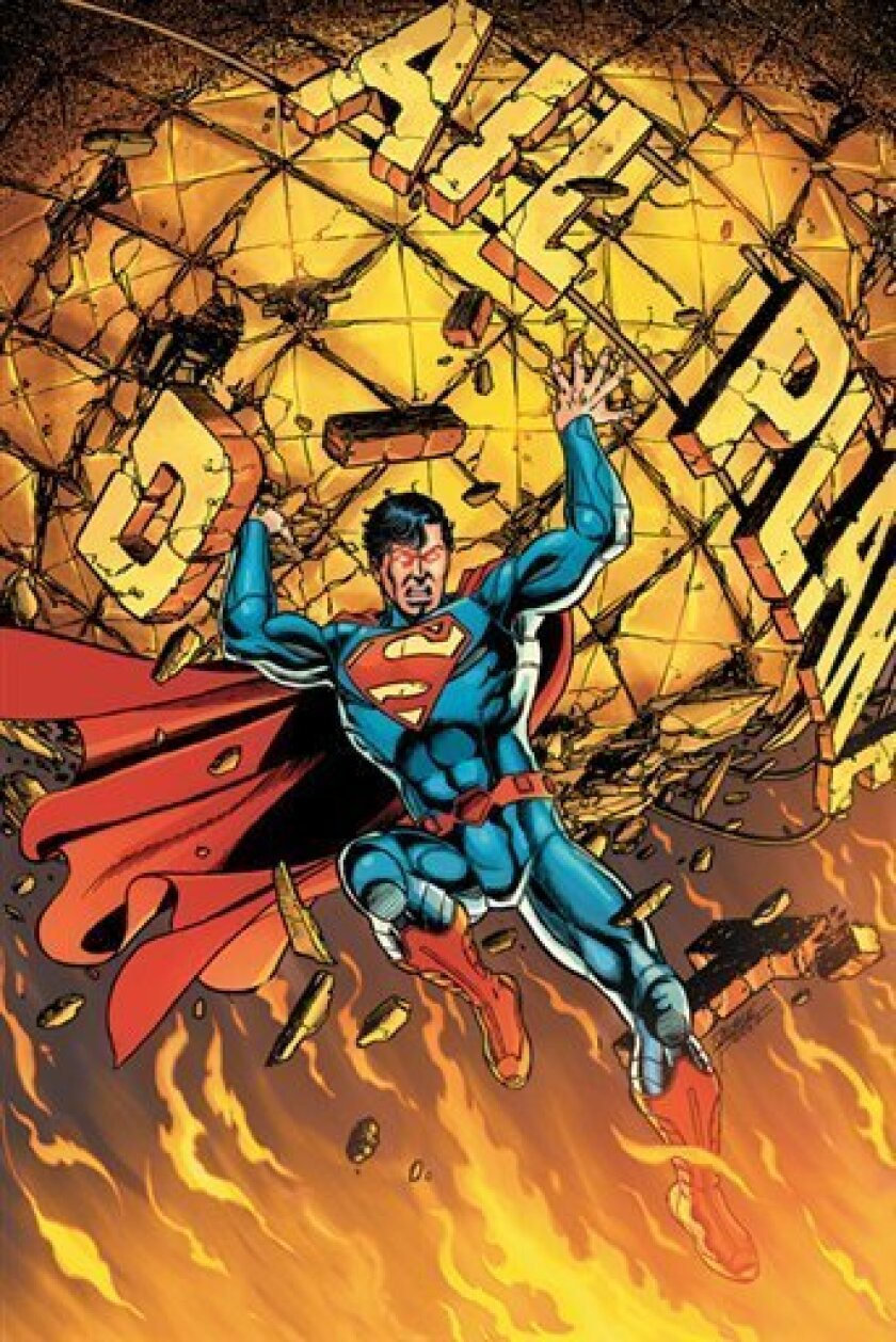 """In this comic book image released by DC Comics, the cover of """"Superman"""" No. 1, is shown. More than seven decades after Superman made his debut in """"Action Comics,"""" DC says its longest-running comic book title will restart at No. 1 in September with a the Man of Steel sporting a full-blue look minus"""