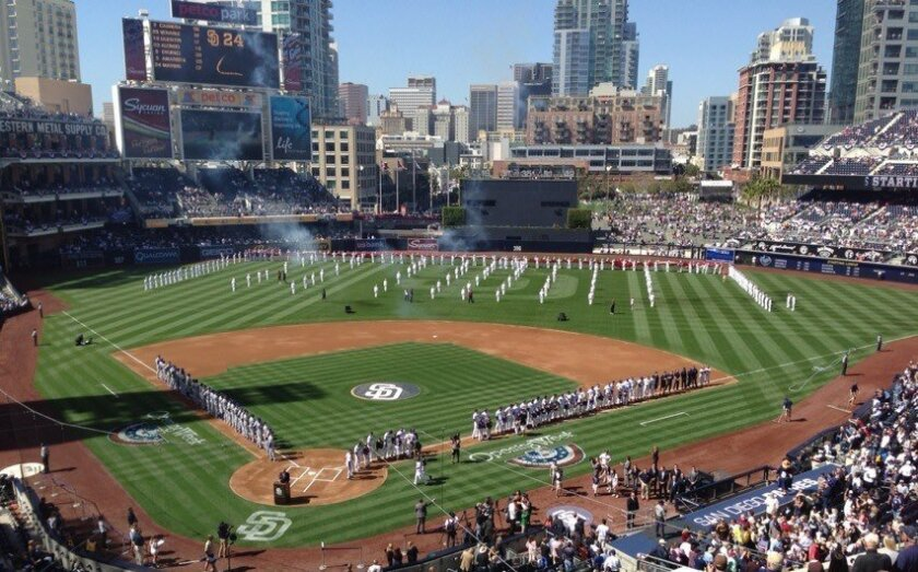 A view from the stands as the Padres get ready to open at Petco Park.