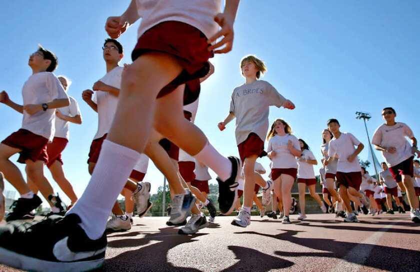 La Cañada High School 7/8 students participate in a Jog-A-Thon fundraiser for LCUSD.