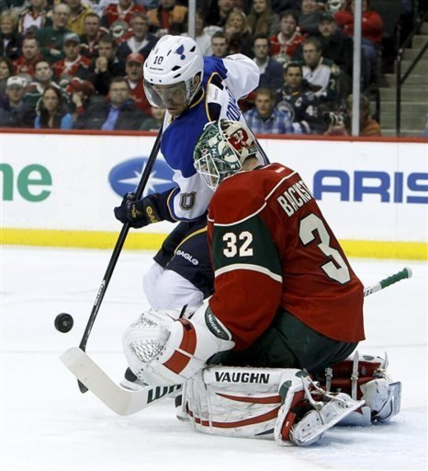 Minnesota Wild goalie Niklas Backstrom (32) of Finland deflects a shot by St. Louis Blues center Andy McDonald (10) during the second period of an NHL hockey game in St. Paul, Minn., Monday, April 1, 2013. (AP Photo/Ann Heisenfelt)