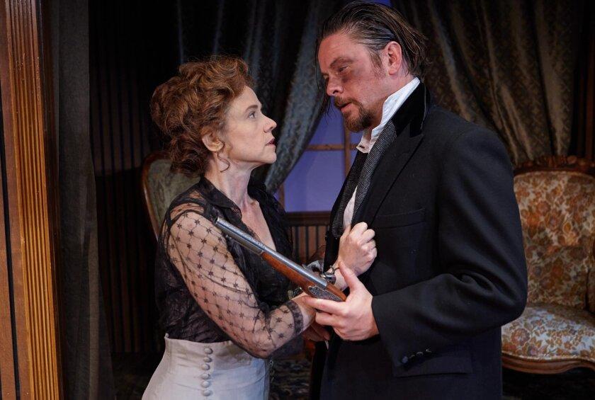 Hedda Gabler (Mhari Sandoval) and Eilert Lovborg (Richard Baird) have a tense moment in North Coast Repertory Theatre's world premiere translation of Henrik Ibsen's 'Hedda Gabler,' directed by David Ellenstein through June 26.