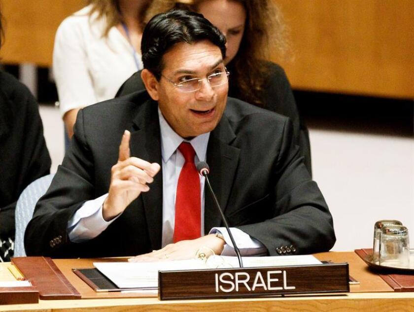 El embajador de Israel ante las Naciones Unidas (ONU), Danny Danon, participa en una reunión del Consejo de Seguridad de la ONU sobre el conflicto palestinoisraelí, en la sede de la ONU en Nueva York (EE.UU). EFE/Archivo