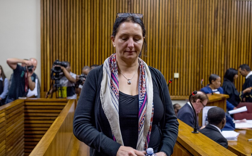 Convicted racist Vicky Momberg leaves the dock after sentencing proceedings at the Randburg Magistra