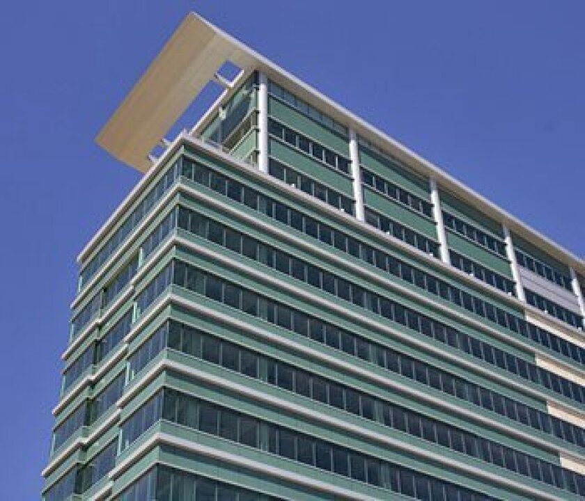 The city sued to force Sunroad to lower its Kearny Mesa office building (shown in 2006 at 180 feet). Sunroad then countersued.   (U-T file photo)
