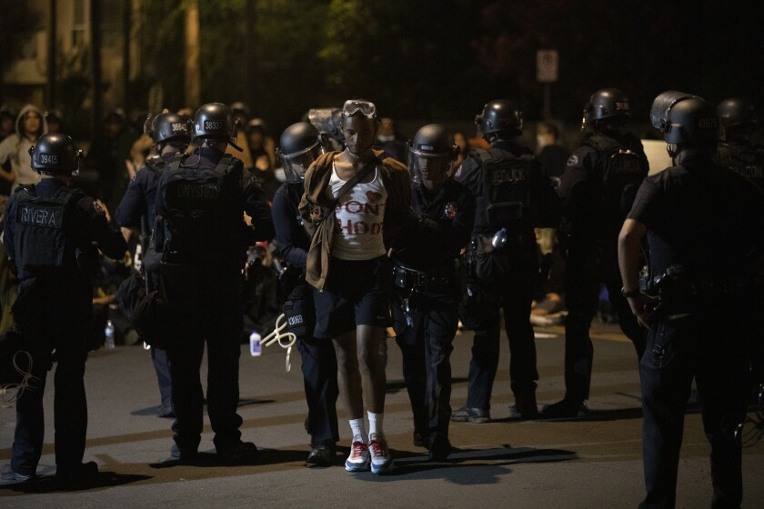 A protester is arrested on June 2 in Los Angeles.