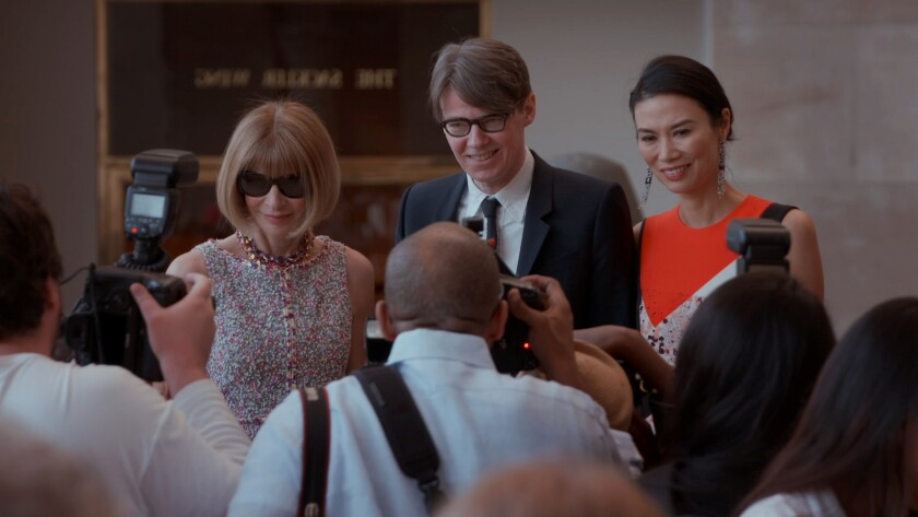 "From left: Anna Wintour, Andrew Bolton, and Wendi Murdoch in ""The First Monday in May."""