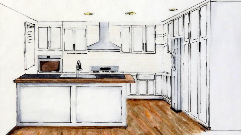 A kitchen design by Stephen Shaw, a recent graduate of the Mesa College interior design program.
