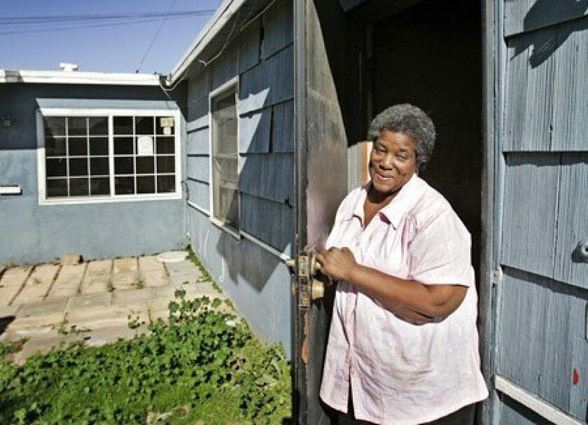 Forced to move by the foreclosure of her rental home, Lois Crowder took the opportunity to buy her first home and hopes to move this month. If her rented home had been taken over by Fannie Mae, she could have remained in place and received a new lease. (Bruce K. Huff / Union-Tribune)