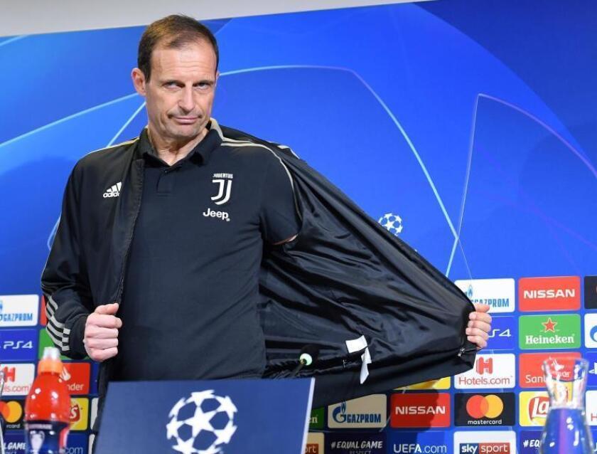 El entrenador de la Juventus de Turín, el italiano Massimiliano Allegri, ofrece una rueda de prensa en Turín, Italia, este lunes. La Juventus se enfrenta mañana al Atlético de Madrid en su encuentro de vuelta de octavos de final de la UEFA Liga de Campeones en el Juventus Stadium. EFE