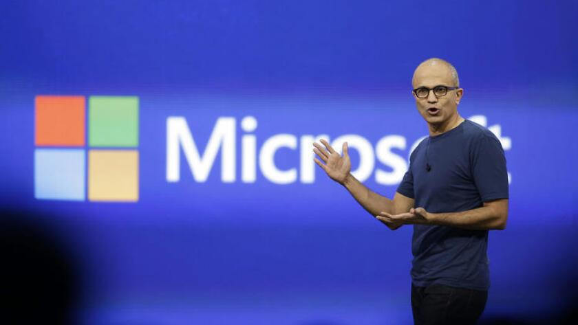 Microsoft CEO Satya Nadella delivers the keynote address of the Build Conference in San Francisco last year.
