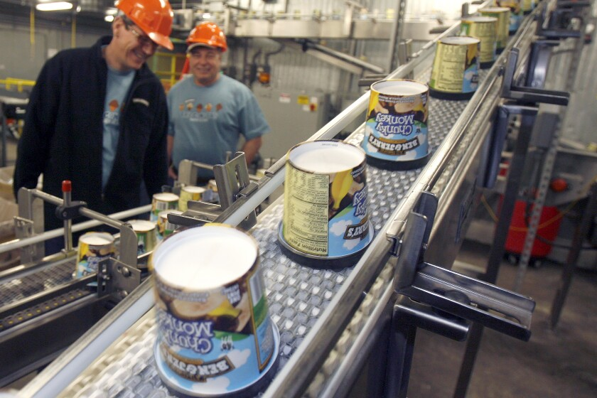 Ice cream moves along the production line