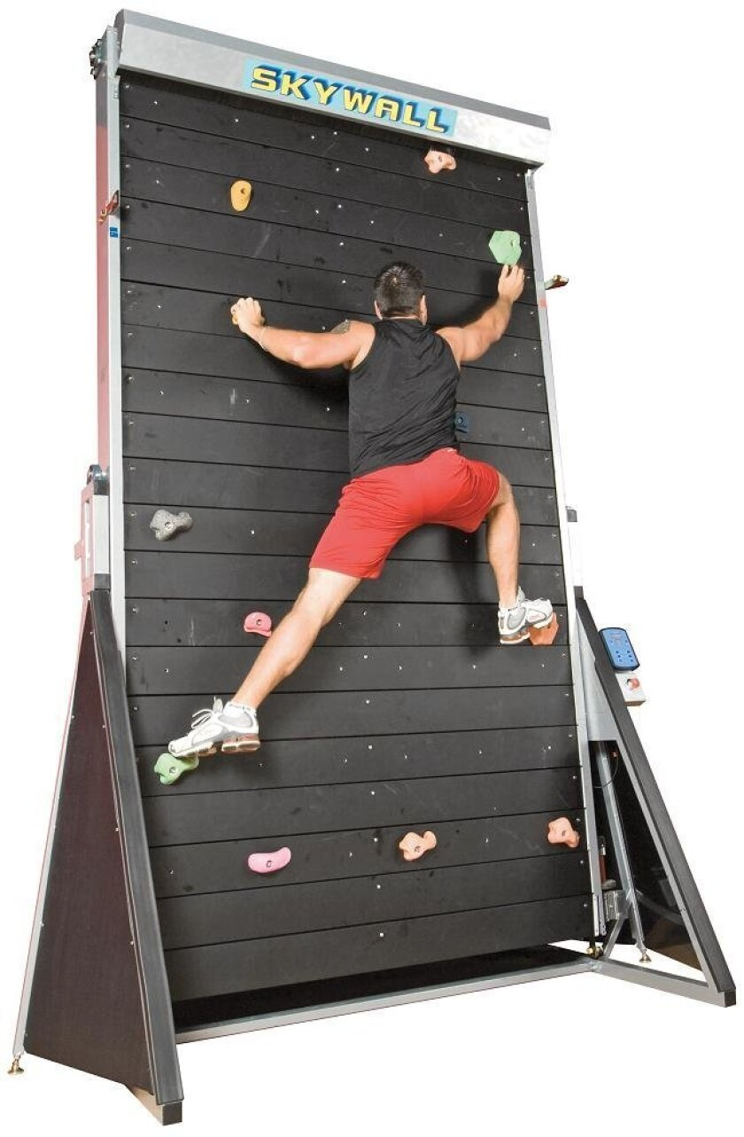 The Skywalk is a fully motorized climbing wall that  takes your workout to new heights -- without the dangerous height.