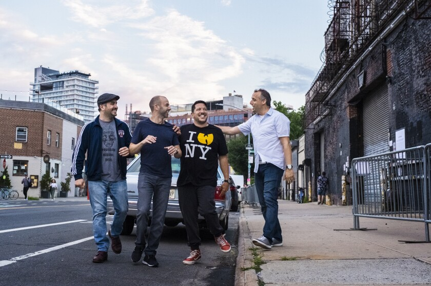 Brian Quinn, from left, James Murray, Sal Vulcano and Joe Gatto in 'Impractical Jokers: The Movie'