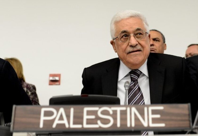 Palestinian Authority President Mahmoud Abbas attends a meeting on the rights of Palestinians at the United Nations headquarters in New York on Thursday ahead of the General Assembly vote.