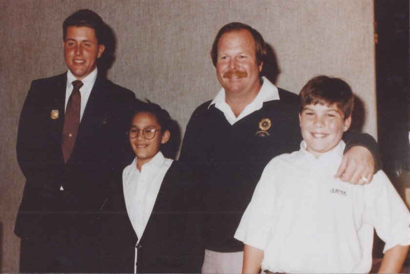 Undated photo (1987 or 1988) from a San Diego Junior Golf awards banquet. At right is Craig Stadler and his son Kevin. At far left is Phil Mickelson, with Kevin Cabales.