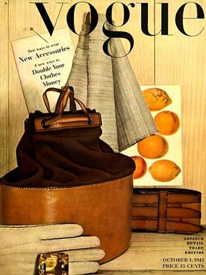 Irving Penn's first attempt at fashion photography was a still life with a scarf, gloves and leather bag. It appeared on the cover of Vogue magazine on Oct. 1, 1943. He went on to shoot more than 150 covers for Vogue.