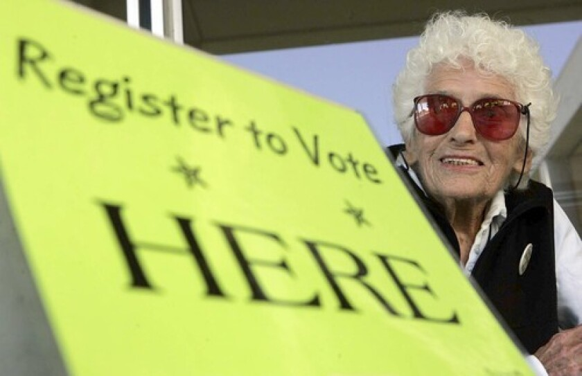 """Sylvia Levin added more than 47,000 people to California's voter rolls. She """"has done more to make democracy work than anybody I know,"""" L.A. Councilman Bill Rosendahl said when the city honored her."""