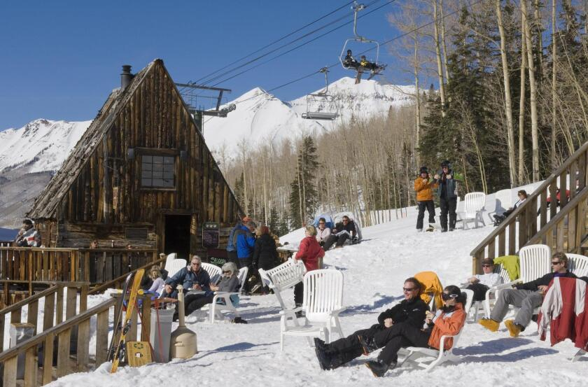 After-ski relaxation on the slopes of Telluride.