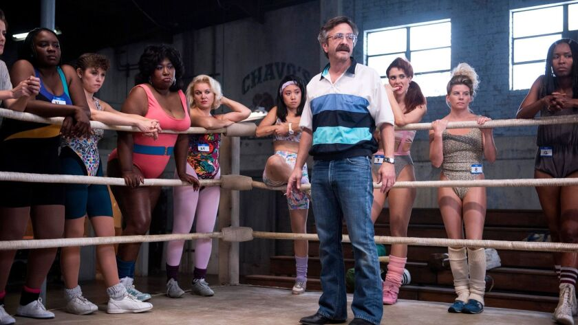 """Marc Maron plays the director of a women's wrestling TV pilot in the Netflix comedy """"GLOW."""""""