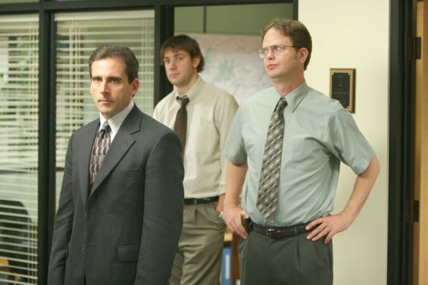 "Steve Carell, left, John Krasinski and Rainn Wilson in ""The Office."""