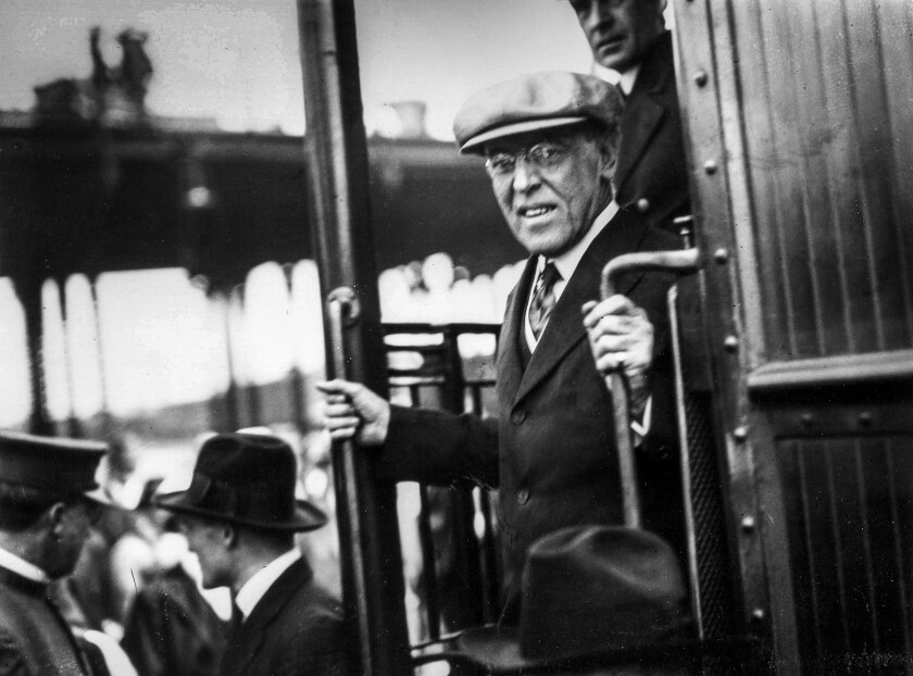 President Woodrow Wilson steps down from a train upon his arrival in Los Angeles in 1919.