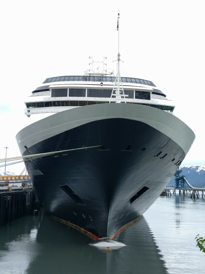 In this Sunday, May 29, 2016, photo provided by Matt Faust shows a whale carcass on the bow of a cruise ship at a port in Seward, Alaska. A veterinary pathologist worked Monday to determine what killed the juvenile fin whale. (Matt Faust via AP) MANDATORY CREDIT