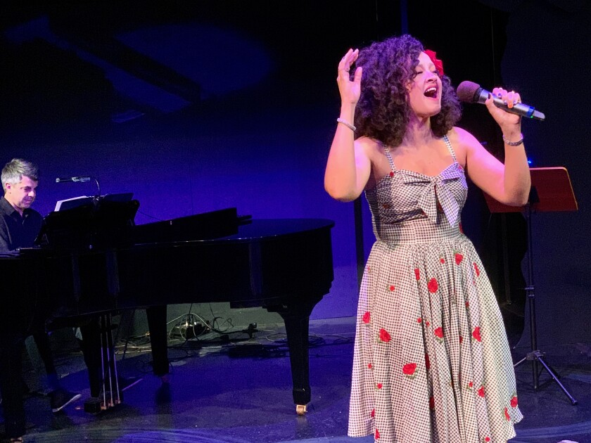"""Rebecca Jade, with pianist Cris O'Bryon, in """"Lamb's Concerts: The Women."""""""
