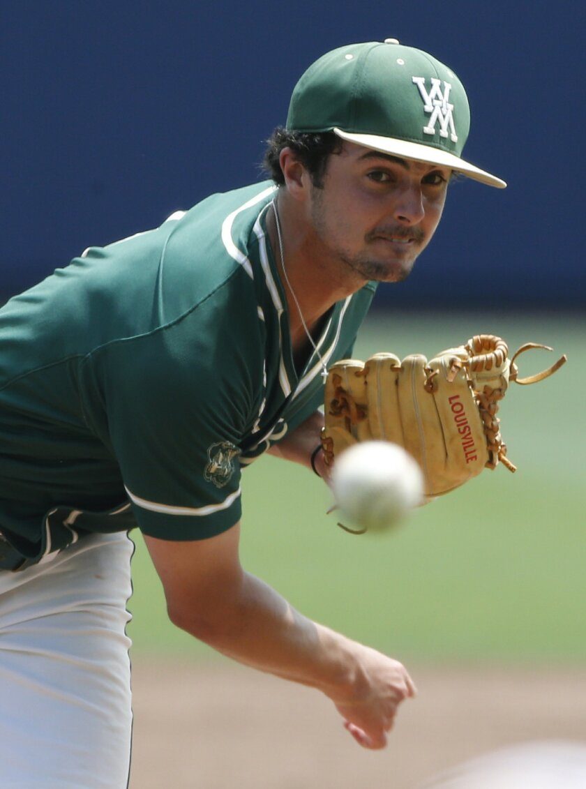 William & Mary pitcher Nick Brown (2) tosses a pitch in the sixth inning of an NCAA college regional baseball game against Bryant in Charlottesville, Va., Saturday, June 4, 2016. (AP Photo/Steve Helber)