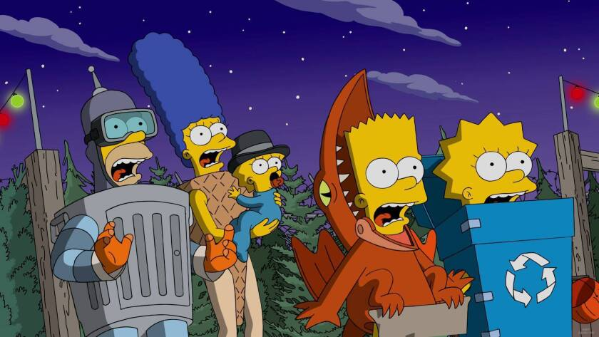 """The Simpson family trick-or-treating in the """"Treehouse of Horror XXVII"""" episode."""